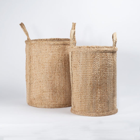 Hatched Weave Jute Basket w/ Handles - Natural