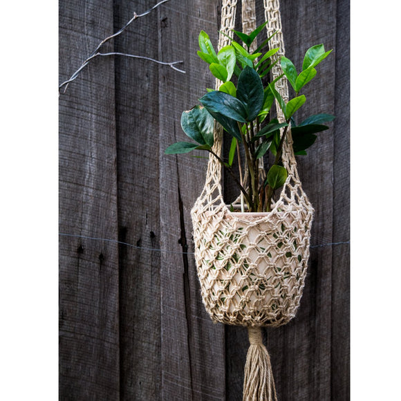 Josephine Macrame Pot Plant Hanger - 100cm Natural - The Fair Trader