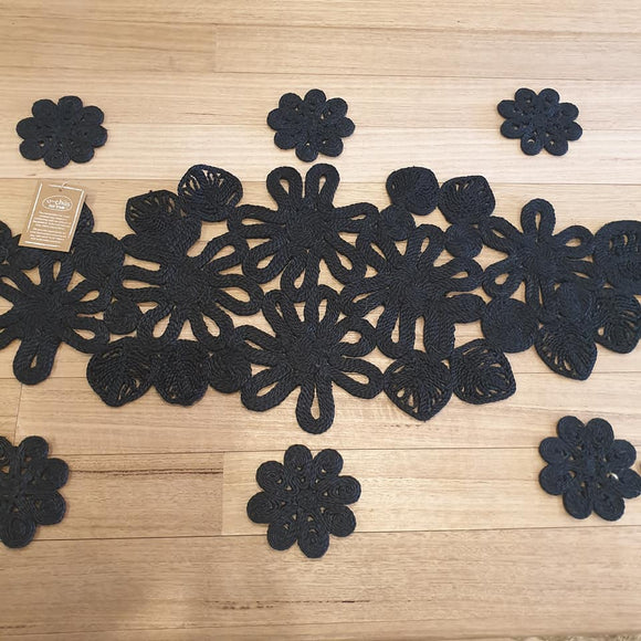 Leaf and Flower Jute Table Runner - Black