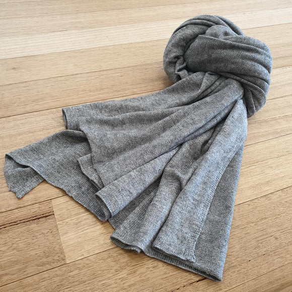 Wool / Cashmere Mix Scarf - Mid Grey