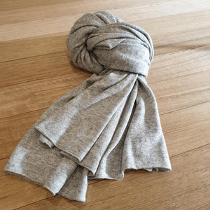 Wool / Cashmere Mix Scarf - Pale Grey