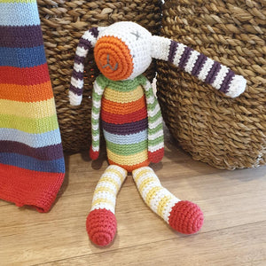 Organic Stripey Bunny Rattle - Rainbow Multi