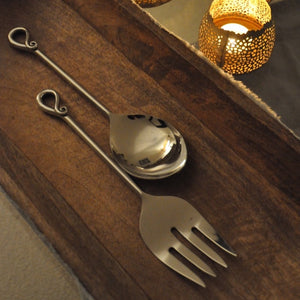 Stainless Steel Serving Spoon Curl Set - Fork and Spoon