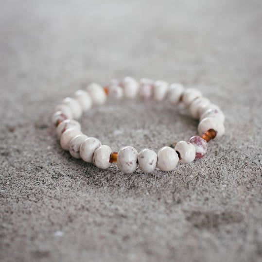 White Clay Bead Stackable Bracelet - The Fair Trader