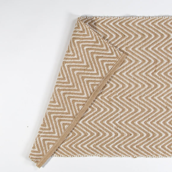 Jute and Cotton Thread Rug - Wavy Zig Zag Natural 60 x 90 cm