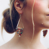 Upcycle Textile Long Pendant Earrings - The Fair Trader