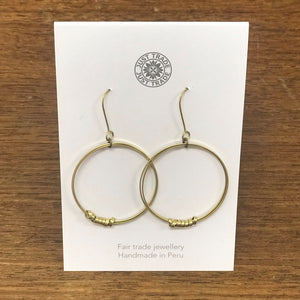 Brass Ribbon Single Hoop Earrings - The Fair Trader