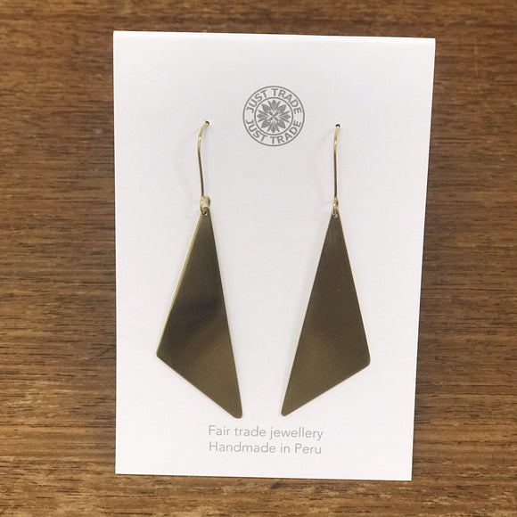 Geometric Brass Offset Earrings - The Fair Trader