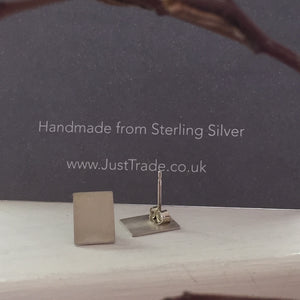 Rectangle Silver Studs