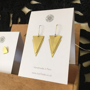 Lucie Double Triangle Drop Brass Earrings - The Fair Trader