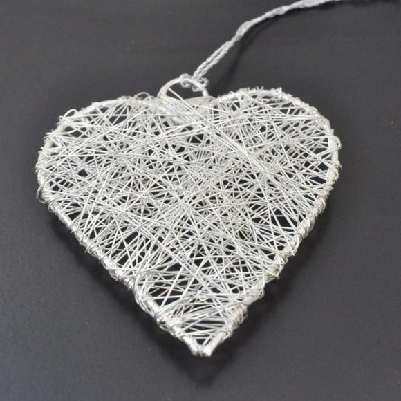 Silver Heart Wire Christmas Decoration