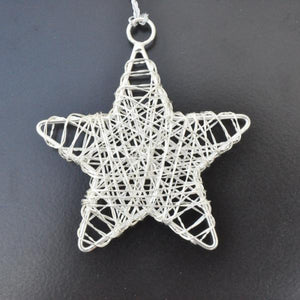 Silver Star Wire Christmas Decoration
