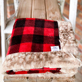 RTS Buffalo Print Scarlet Luxe Snuggle Blankets