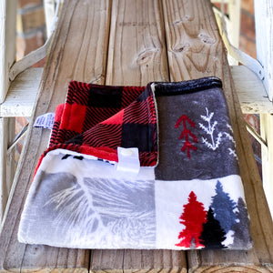 RTS Cabin Quilt Scarlet Minky Loveys