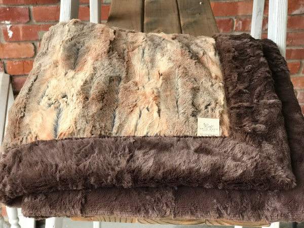 Red Fox & Chocolate Marble Double Luxe Blanket