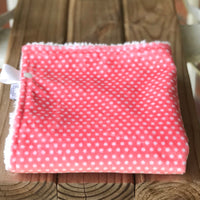 RTS Coral Swiss Dot Luxe Snuggle Lovey