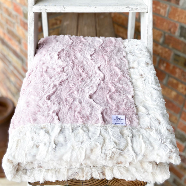 Easy Order Ice Pink Glacier & Snowy Owl Natural Double Luxe Blanket