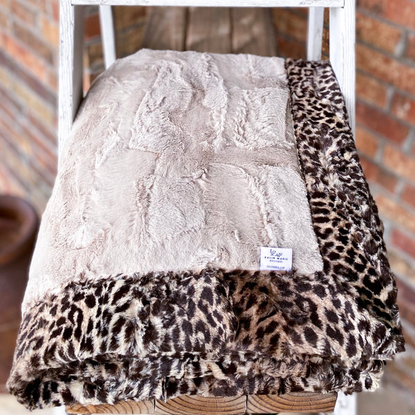 RTS Champagne Hide & Chocolate Leopard Luxe Blanket