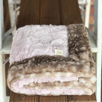 Rosewater Hide & Fawn Faux Fur Double Luxe Blanket