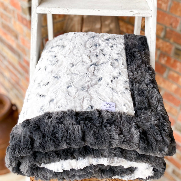 Easy Order Snowy Owl Alloy & Ash Glacier Double Luxe Blanket