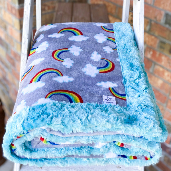 Easy Order Sweet Rainbows Luxe Snuggle Blanket