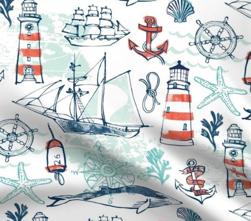 Limited Edition Spoonflower Nautical Pacific Minky Luxe Blanket Custom Order