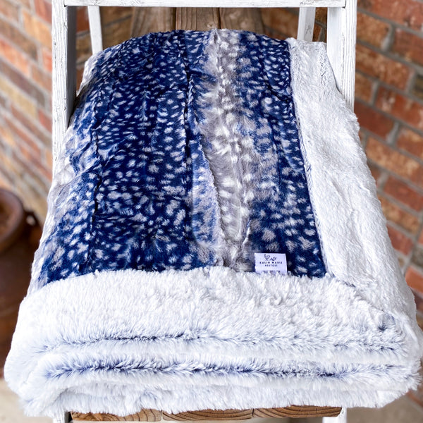 RTS Snowy Owl Navy & Indigo Frost Luxe Blanket