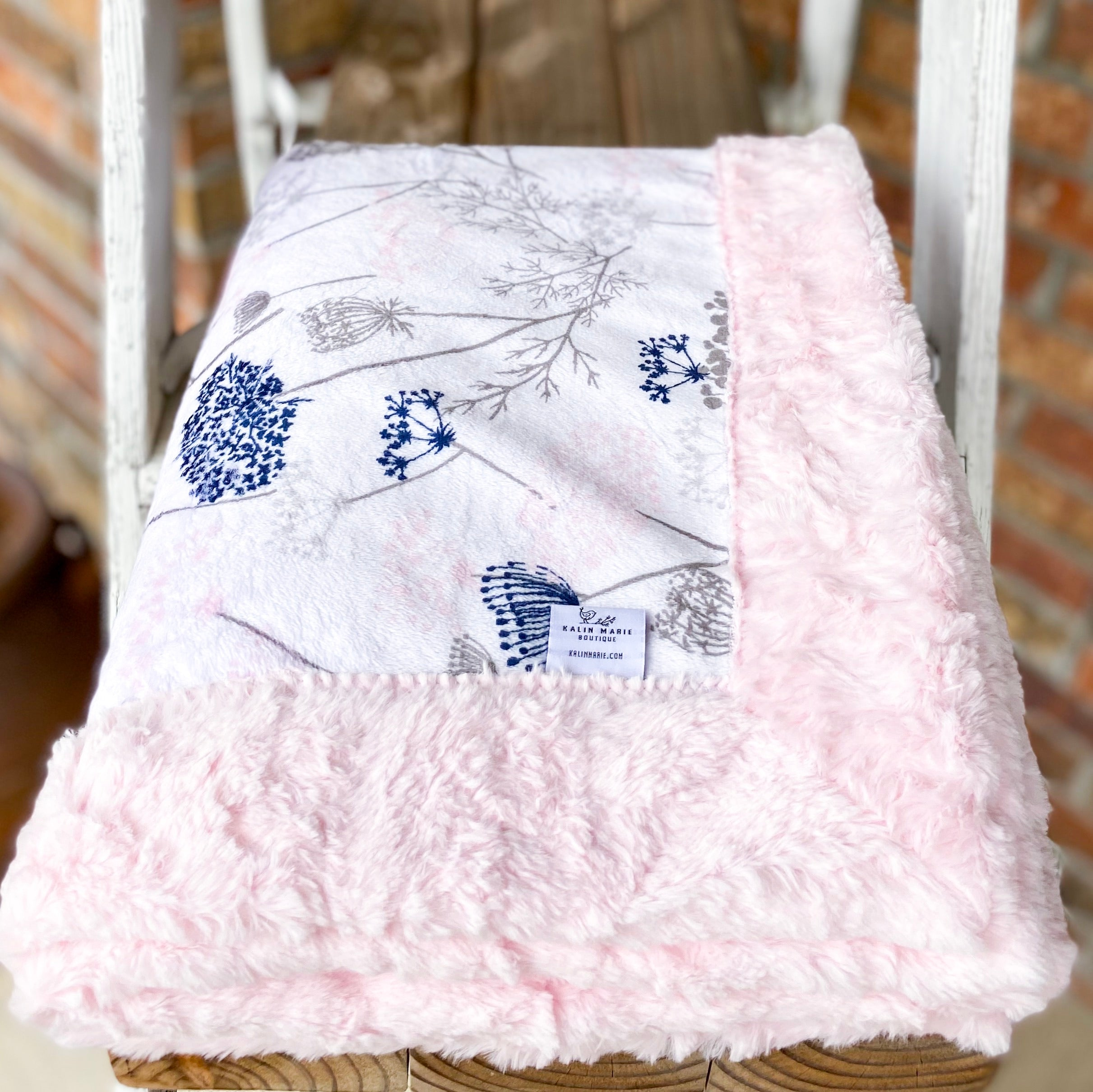 RTS Queen Anne's Lace Blush  Luxe Snuggle Blankets