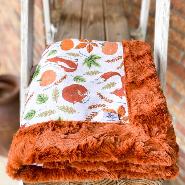 Easy Order Fall Fox Luxe Snuggle Blanket