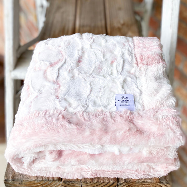 Easy Order Snowy Owl Rosewater & Rosewater Fawn Double Luxe Blanket