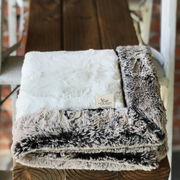 Natural Hide & Chocolate Frost Double Luxe Blanket