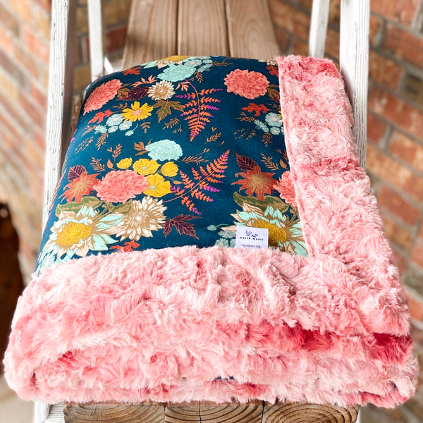 Easy Order Autumn Floral Cotton Knit Luxe Blanket