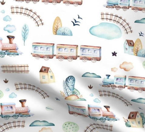 Limited Edition Spoonflower Trains Minky Luxe Blanket Custom Order