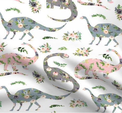 Limited Edition Spoonflower Floral Dinosaur Minky Luxe Blanket Custom Order