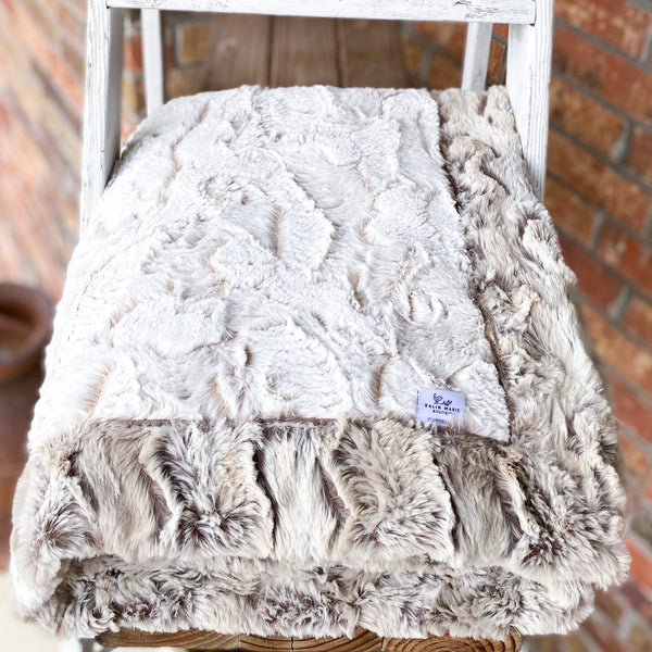 Easy Order Camel Frosted Hide & Wild Rabbit Sandstone Double Luxe Blanket