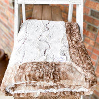 Easy Order Brown Frosted Hide & Fawn Faux Fur Double Luxe Blanket