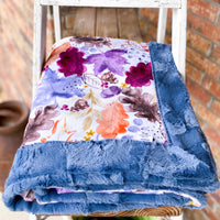 Easy Order Autumn Leaves Plum Luxe Snuggle Blanket