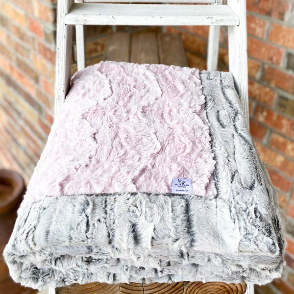 Easy Order Ice Pink Glacier & Silver Fox Double Luxe Blanket