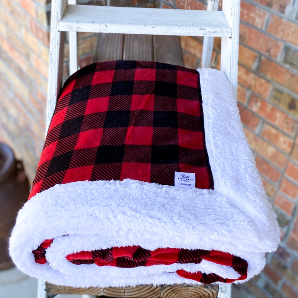 RTS Buffalo Plaid Scarlet & White Sherpa Luxe Blanket