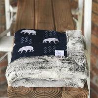 Bearfoot Navy Luxe Snuggle Blanket (2 backings)