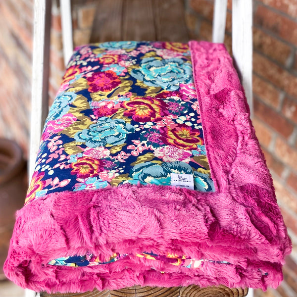 RTS Boho Rose Knit & Magenta Hide Luxe Blanket