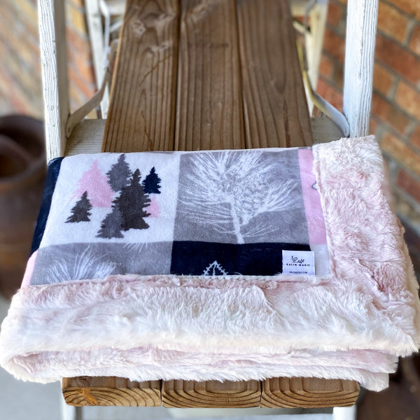RTS Cabin Quilt Blush Snuggle Blanket