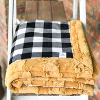 Easy Order Black & White Buffalo Plaid and Golden Hide Luxe Snuggle Blanket