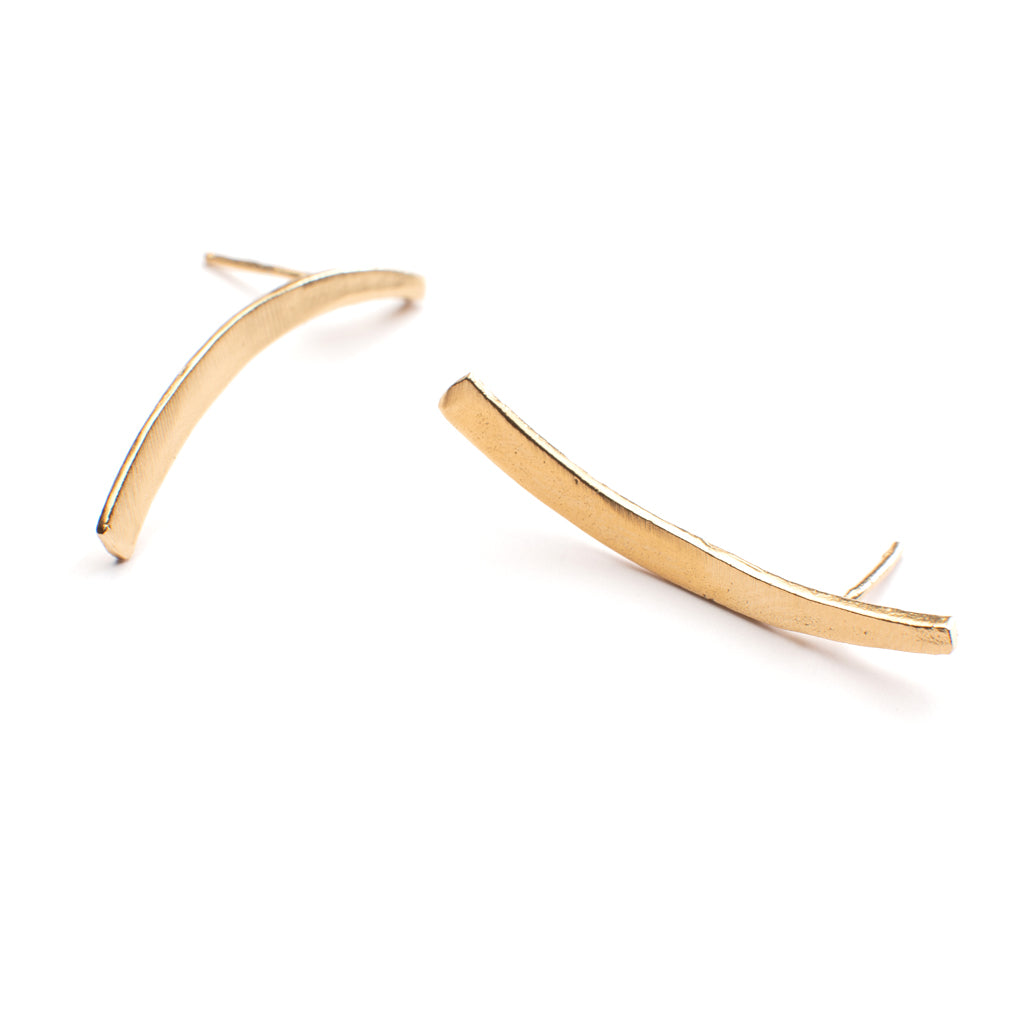 "handmade curved post stud earrings are flattering and timeless 1 1/2"" long in 14k Gold Vermeil"