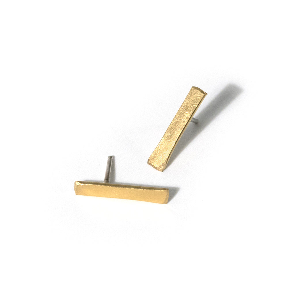 Handmade simple contemporary gold bar stud earrings
