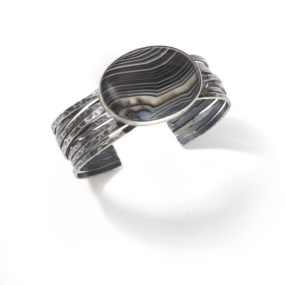 Signature Cuff with Agate (Black)