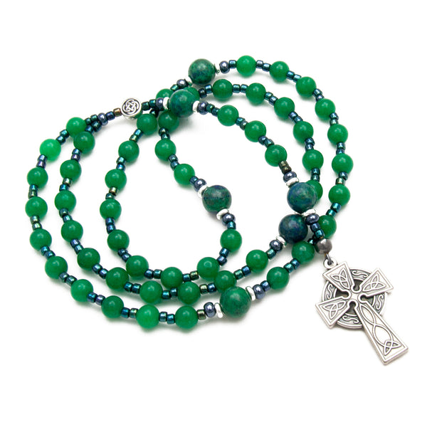 Celtic Rosary Green Jade and Azurite Gemstone Rosary Beads