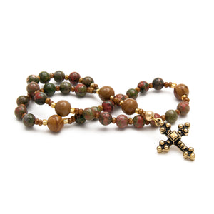 Green & Brown Natural Stone Anglican Prayer Beads