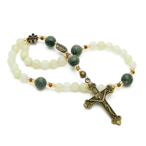 New Jade Serpentine 33-Bead Anglican Rosary by Unspoken Elements