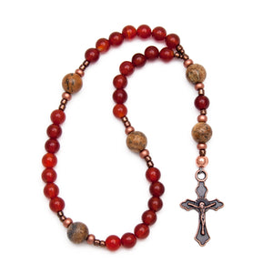 Red Carnelian and Brown Jasper Anglican Rosary